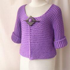 Knitted short jacket cardigan in purple van vinevirak op Etsy