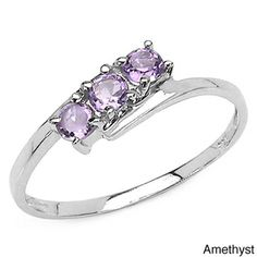 976f7537aff87f Malaika Sterling Silver Round-cut 3-gemstone Bypass Ring | Overstock.com  Shopping