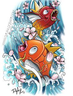 Magikarp, Pokemon Pokemon Team, Pokemon One, Cool Pokemon, Pokemon Tattoo, 1 Tattoo, Hippie Art, Pokemon Pictures, Manga, Japanese Art
