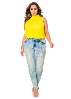 Rhinestone Destructed Skinny Denim Jeans - Ashley Stewart