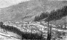 Engraving showing the settlement of Bonanza, Sagnache County, Colorado, 1881. In 1880 Bonanza was just a collection of a few tents, but by 1881 the settlement had become a large town.