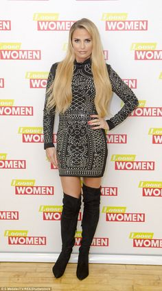 Wow thing: Katie looked incredible in an embellished mini dress which she wore with a pair...