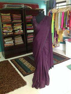 Plain saree saree for women blouse saree blouse plain image 0 Velvet Saree, Satin Saree, Silk Sarees, Simple Elegant Wedding Dress, Elegant Dresses, Sari Bluse, Indische Sarees, Sari Design, Stylish Sarees