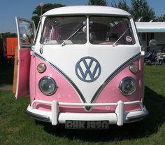 car, buses, dreams, road trips, pink vw, campervan, volkswagen bus, vw camper vans, vw vans