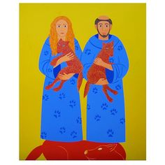 Joan Brown, Saint Claire and Saint Francis, 1989 ( last painting) St Claire, St Francis, American Artists, Contemporary Artists, Female Art, Disney Characters, Fictional Characters, San Francisco, Aurora Sleeping Beauty