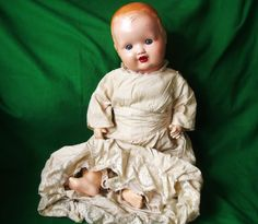 Antique Baby Doll Dollies 2 British Mark 16.5 Vintage Composition in Old Clothes