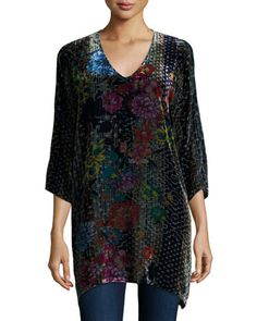 Tappa+Floral-Print+Velvet+Tunic++by+Johnny+Was+Collection+at+Neiman+Marcus.