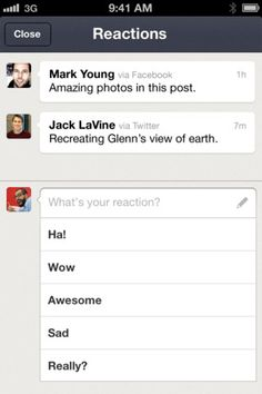 "News.me for iPhone  Interesting ""comment field"""