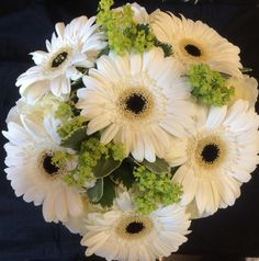 White and green roses and gerbera hand tied wedding bouquet