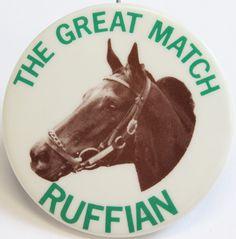 "Match race pin from July 6,1975 vs Foolish Pleasure at Belmont Park!Sz: 2""D"