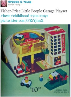 Toys :: Fisher-Price Little People Garage Playset . This was my favorite Fisher Price set! My Childhood Memories, Childhood Toys, Great Memories, 70s Toys, Retro Toys, Early 90s Toys, Vintage Toys 80s, Vintage Stuff, Toys Quotes