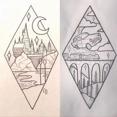 -Harry Potter tattoo ideas Ideas de tatuajes de Harry Potter See it Diy Tattoo, Book Tattoo, Wall Tattoo, Tattoo Art, Arte Do Harry Potter, Harry Potter Drawings Easy, Harry Potter Sketch, Harry Potter Journal, Harry Potter Painting