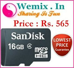 SanDisk 16GB Class 4 microSDHC Memory Card Rs. 565 Memory Storage, Memories, Cards, Fun, Memoirs, Souvenirs, Maps, Playing Cards, Remember This