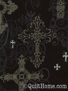 Color Stories CM4527-BLAC Fabric by Kathy Miller (ornate crosses)  This is on the wish list.  I could rock a dress in this fabric this October...which is like 5 days away.
