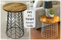 Diy end tables - Easy DIY Accent Table Tutorial for your living room decor – Diy end tables Furniture Projects, Home Projects, Home Crafts, Diy Furniture, Diy Home Decor, Furniture Stores, Furniture Outlet, Wooden Crate Furniture, Mexican Furniture