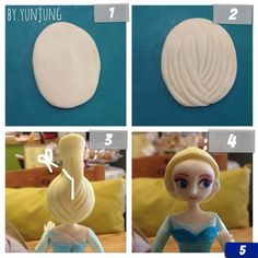 Elsa Fondant Figurine Tutorial It is in fondant but we can make this with clay as well. Have fun! Fondant Hair, Fondant Tips, Fondant Cakes, Fondant Figures Tutorial, Cake Topper Tutorial, Fondant Toppers, Cake Decorating Techniques, Cake Decorating Tutorials, Decorating Supplies