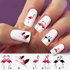 Flamingo, birds, nail art, 60 nail decals, Nail Art design, Water Slide nail Decals,#FL002