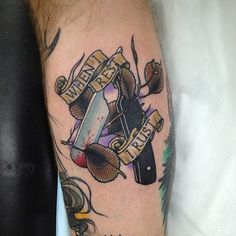 Neo traditional razor tattoo by Dan Molloy.