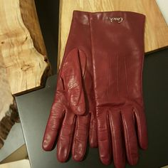 Red leather cashmere lined Coach gloves Worn only once! Beautiful condition - like new! Sorry, I no longer have the box. Coach Accessories Gloves & Mittens