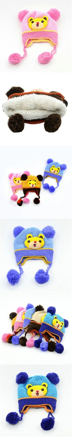 Baby Toddler Hats Earflaps Winter Children Skullies Beanies Warm Cap Kids Cartoon Knitted Hat Pom Pom Girls Boys Wool Knit Caps