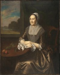 Portrait of Hannah Lambert Cadwalader (1712-1788)    Made in Philadelphia, Pennsylvania, United States, North and Central America  1772    Charles Willson Peale, American, 1741 - 1827    Oil on canvas  50 3/4 x 40 7/8 inches (128.9 x 103.8 cm)    Currently not on view    1983-90-2