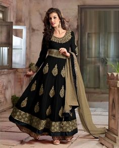 Black Georgette Ankle Length Anarkali Suit 61325