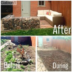 "Gabion patio in Denver CO using 3 gabions 27"" tall x 15"" thick http://www.gabion1.com"