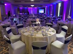 Uplighting with chair covers and chair sashes