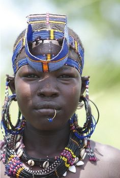 Africa | Portrait of a Toposa Girl.  South Sudan | © Michel Laplace Toulouse / www.GeorgeSteinmetz.com