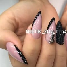 fearless combinations with black stiletto nails page- 72 Black Stiletto Nails, Nude Nails, Glitter Nails, Black Nail, Glam Nails, Beauty Nails, Acrylic Nails Natural, City Nails, Nagellack Trends
