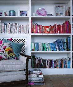 I will never do it, but I am obsessed with the idea of shelving books by color.