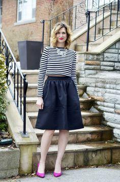 Crop top & Full Skirt. Zara top, Express Skirt, Banana Republic Shoes.