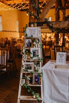 Using a ladder entwined with ivy or flowers is a gorgeous way to remember absent loved ones on your big day. Wedding Crafts, Diy Wedding, Fall Wedding, Wedding Favors, Rustic Wedding, Dream Wedding, Wedding Decorations, Wedding Prep, Wedding Goals