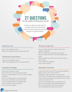 27 Questions To Ask While Writing Your Email #EmailMarketing #Email