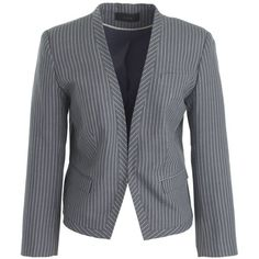 J.Crew Cropped Pinstripe Blazer ($215) ❤ liked on Polyvore featuring outerwear, jackets, blazers, blazer, fitted blazer, striped blazer, pinstripe blazer, cropped blazer and collarless jacket
