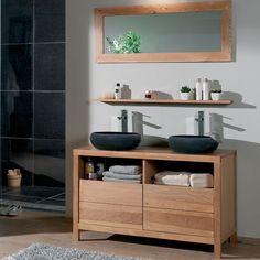 Id es de meubles pour vasques on pinterest bathroom - Salle de bain en bois et pierre ...