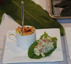 Palm Springs Weddings.  Yummy Chopped Wedge Salad Lettuce Wraps and Creamy Chardonnay & Five Cheese M&C w/crispy bacon. Catering by:  http://www.katherine-king.com  Planning by:  http://www.theWEstudio.com & http://www.thewalkdowntheaisle.com