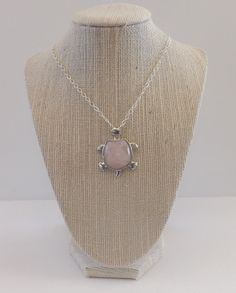 Pink Quartz and Silver Turtle Necklace by TheGreenEyedTurtle, $10.00
