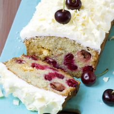 This cherry loaf is very moist and has a gorgeous creamy topping.
