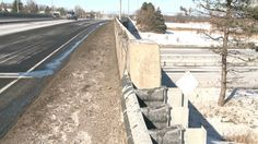 A path along the Eagleson Road overpass above Highway 417 is not wide enough for pedestrians to cross safely or for snowplows to clear, but engineers from the Ontario government say they will work with the city to find a solution.  CBC news