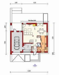 Rzut AC E14 II G1 ECONOMIC CE Small Modern House Plans, Modern Bungalow House, Physics Classroom, Logic Puzzles, Good House, Kitchen Design, Floor Plans, How To Plan, Home Decor