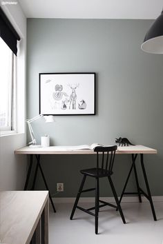 Working from home is an awesome perk, but have you ever accidentally created a workspace as drab as a cubicle? Here's the way to make the greatest home office at 7 simple (and cheap) steps. Home Office Inspiration, Workspace Inspiration, Interior Inspiration, Design Inspiration, Design Ideas, Home Office Design, Home Office Decor, House Design, Office Wall Colors