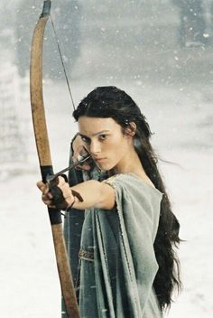 King Arthur is a 2004 Irish-British-American historical adventure film directed by Antoine Fuqua and written by David Franzoni. It stars Clive Owen as the title character, Ioan Gruffudd as Lancelot and Keira Knightley as Guinevere. Keira Knightley with the bow and arrow.
