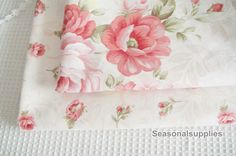 white cotton fabric with pink rose floral, medium weight