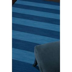 Shop for Handmade Flat-weave Stripe-pattern Blue Wool Rug (9' x 12'). Get free shipping at Overstock.com - Your Online Home Decor Outlet Store! Get 5�0in rewards with Club O! - 15514257