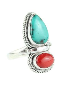 Wild One Turquoise & Coral Ring