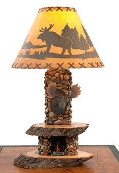 Cabin Table Lamp by Woodland Creek Furniture. Available with Bear, Buck, Fish or Elk Mount.
