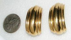St John Big Bold Goldtone Clip on Earrings Signed Costume Jewelry | eBay SOLD