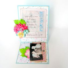 """Creativity Easel Fold Card by Dana Tatar for the Gecko Galz 6th Annual Blog Hop created using the Gecko Galz """"She is so Lovely"""" Collage Sheet, the Gecko Galz Pocket Full of Posies Digital Paper Pack, and the 7 Gypsies Poses and Reflections patterned paper. Stop by for a FREE collage sheet!"""