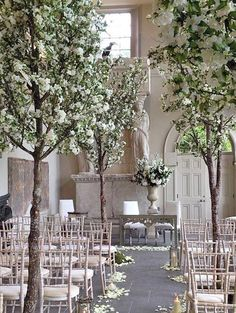 White Wedding Blossom Trees
